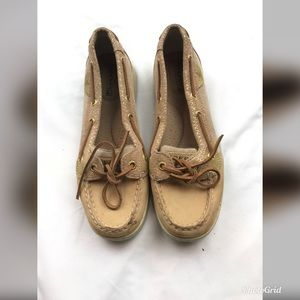 Sperry size 6.5 tan gold sparkle